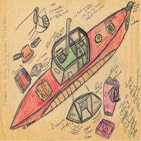 John Byam, Submarine, Pencil on Paper- Byam's works on paper, utilizing a  variety of materials including pencil, crayon, and marker, often include portraits and  written commentary, and speak clearly and directly about contemporary culture andits fascination with media and celebrity.