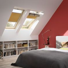 Interior : Beautiful Bedroom Ideas With Skylight Shades With Sloped Ceilings And red Wall paint Combine Wooden Flooring Plus Dark Gray Blanket - Interior Home with Skylight Shade Design