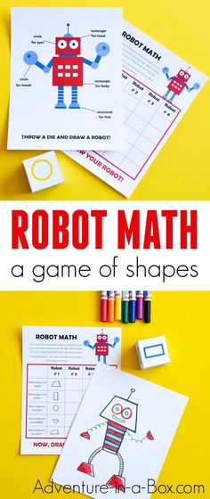 Robot Math is a printable game that challenges children to draw while working on simple geometry – shape drawing and recognition. Roll a die and see what kind of robot you will draw. - Education and lifestyle Math Activities For Kids, Math For Kids, Robot Games For Kids, Summer Activities, Preschool Activities, Kindergarten Math, Teaching Math, Maths, Teaching Shapes