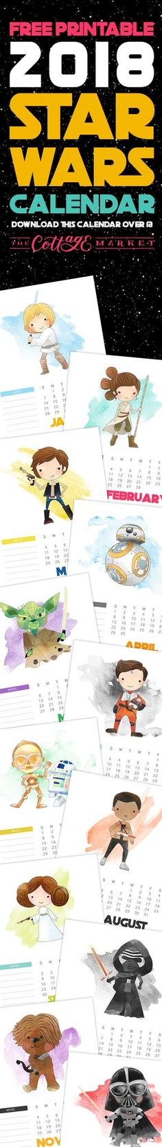 Free printable 2018 Star Wars calendar