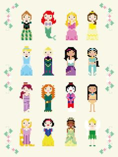 2 Pattern Pack Disney Princes and Princesses Cross Stitch
