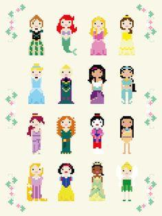 Disney Princess Cross Stitch Pixel Sampler  PDF by ScarletPyjamas
