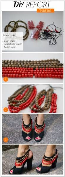Top 10 Unique DIY Heels Ideas - Top Inspired - Add pop to an old pair of heels by adding strands of beads, this would be a great use for Mardi Gra - Diy Fashion, Fashion Shoes, Trendy Fashion, Runway Fashion, Fashion Beauty, Fashion Dresses, Fashion Tips, Fashion Trends, Shoe Makeover