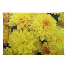 Yellow Mums Floral Cloth Placemat - summer gifts season diy template ideas