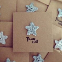 Card Idea: Thank you for your business stamped on brown cardstock, with a crochet motif.