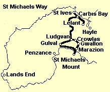 St Michael's Way, an ancient pigrim route, crossing Cornwall on the way to Europe and avoiding trecherous waters around Lands End.