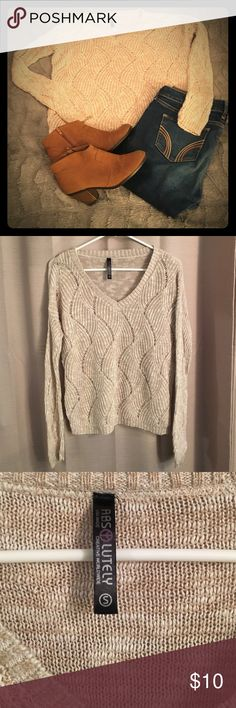 S, Beige:White, Crochet Sweater Gorgeous crochet/knit beige sweater. Perfect for fall. The pattern of knit is just beautiful. In good condition.  It was made by Absolutely. Absolutely Sweaters Crew & Scoop Necks