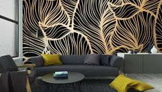 Wall Mural ✓ Easy Installation ✓ 365 Days to Return ✓ Browse other patterns from this collection! Royal Wallpaper, Black Wallpaper, Fabric Wallpaper, Royal Room, Church Interior Design, Condo Decorating, Decorating Tips, Painted Picture Frames, Royal Art