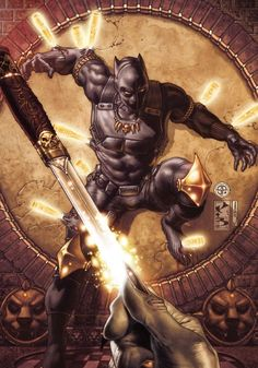 Black Panther: The Man Without Fear Cover: Black Panther Surrounded by Daggers by Simone Bianchi Marvel Comics Plastic Sign - 30 x 41 cm Comic Book Characters, Comic Book Heroes, Marvel Characters, Comic Character, Comic Books Art, Comic Art, Comic Pics, Black Panther Marvel, Black Panther Art