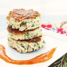 Gluten Free Crab Cakes w/ Roasted Red Pepper Sauce - only 95 calories per serving!!