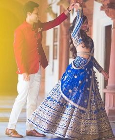 Looking for royal blue lehenga? Browse of latest bridal photos, lehenga & jewelry designs, decor ideas, etc. on WedMeGood Gallery. Indian Wedding Couple, Desi Wedding, Indian Wedding Outfits, Bridal Outfits, Indian Bridal, Indian Outfits, Wedding Dresses, Bride Indian, Blue Bridal