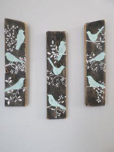 4 Bird Wall Decor Country Custom Order Rustic by ThreeTwigsDesigns, $73.00
