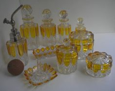 Antique Val St Lambert Crystal And Amber Dresser Set Vanity Set Very Large 17 Piece Belgium 1800.00 OBO