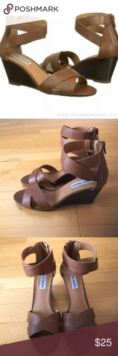 Steve Madden Bane Sandals in Cognac Size 7.5 Darling Steve Madden Sandals. I have never worn these. They are a size 7.5 #Banesandals #tan #brown #cognac #wedge #strappy #low-heel Steve Madden Shoes Sandals