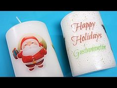 Velas personalizadas. Photo Candles, Diy Candles, Decoupage, Diy Candle Holders, Happy Holidays, Christmas Decorations, Diy Crafts, Make It Yourself, Sarah Kay