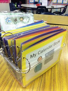 Calendar Time-create a class calendar book. The secretary can change it as we do calendar as a class. Life Skills Classroom, Autism Classroom, Special Education Classroom, Preschool Classroom, Kindergarten Math, Classroom Activities, Classroom Organization, Autism Preschool, Classroom Ideas