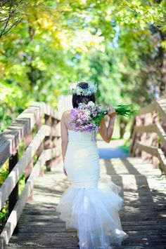 A walk by the bridge. Photography by Glen Cabotage from a styled shoot designed by Dream Bloom with lavander theme Lavander, Walking By, Mermaid Wedding, Bridge, Bloom, Wedding Dresses, Flowers, Photography, Design