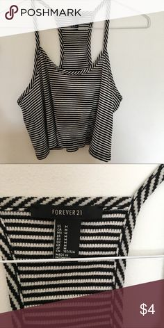 forever 21 striped cropped cami • black and ivory stripes • ribbed fabric • racerback • looser fit • worn once to a one direction concert Forever 21 Tops Crop Tops
