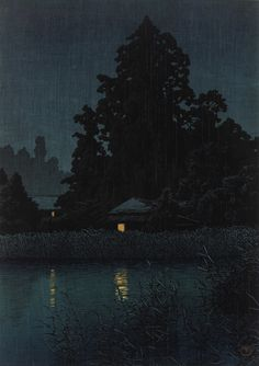 Night Rain At Omiya  1930    Kawase Hasui , (Japanese, 1883 - 1957)   Showa era     Woodblock print; ink and color on paper  H: 27.0 W: 37.8 cm   Japan     S2003.8.740