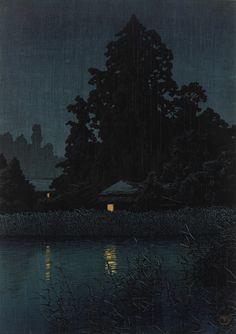 Night Rain At Omiya  1930    Kawase Hasui , (Japanese, 1883 - 1957)   Showa era     Woodblock print; ink and color on paper  H: 27.0 W: 37.8 cm   Japan     S2003.8.740