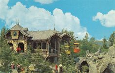 The Disneyland Fantasyland Skyway Station on a 1961 postcard! The stairs are still there, at least. Disneyland California, Vintage Disneyland, Disneyland Resort, Disneyland Times, Disneyland History, Disneyland Parks, Anaheim California, Disney Magic Kingdom, Old Disney