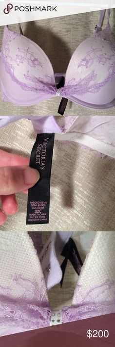 NWOT VS Victoria's Secret LIMITED EDITION BRA NWOT NEVER WORN NO LONGER AVAILABLE HENCE INCREASE IN PRICE SILVER SPARKLY RHINESTONES AND BUCKLES TO ADJUST STRAPS GORGEOUS LAVENDER LACE.  WAS SAVING UNTIL MARRIED BUT NEED MONEY FOR PUPPY! Victoria's Secret Intimates & Sleepwear Bras