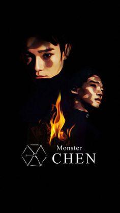 Resultado de imagen para exo monster Chanyeol Baekhyun, Exo Chen, Kpop Exo, Btob, Exo Lucky One, Exo Monster, Kim Jong Dae, Exo Fan Art, Exo Lockscreen