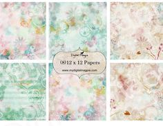 12 x 12 digital paper pack scrapbook collage sheet butterflies flowers printable pastel colors instant download
