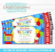 Printable Bounce House Ticket Birthday Party Invitation | Jump House | Pump it Up Party | Trampoline Park | Inflatable Park | Kids Birthday Invite | Cupcake Toppers | Favor Tags | Food Labels | Banner | Signs | Party Package Decor Available!
