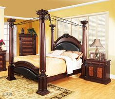 wood canopy bed frame - Google Search