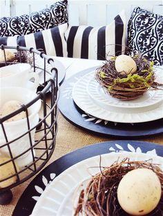 birds nest table decor
