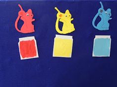 Today I did a Kindergarten story time on art and was able to do Mouse Paint by Ellen Stoll Walsh in flannelboard form. Preschool Colors, Preschool Literacy, Kindergarten, Flannel Board Stories, Flannel Boards, Felt Magnet, Mouse Paint, Flannel Friday, Painting Patterns