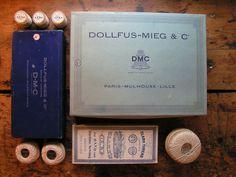 Vintage Box of French Dollfus-Mieg Crochet Thread Spools. $30.00, via Etsy.