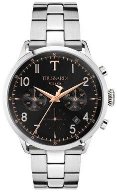 Trussardi T-evolution Chronograph Quartz Men& Watch White Watches For Men, Swiss Army Watches, Stainless Steel Bracelet, Stainless Steel Case, Luxury Watches, Men's Watches, Male Watches, Automatic Watch, Watch Brands