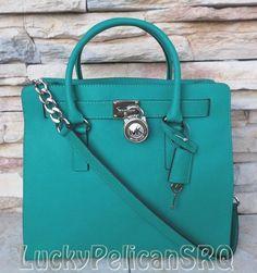 Michael Kors Hamilton NS Large Aqua Green Saffiano Satchel Bag Handbag Tote NWT #MichaelKors #TotesShoppers