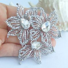 LARGE Fancy Floral Crystal Brooch/Ornament