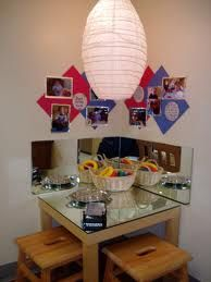 mirrored table and wall mirrors add new dimensions to play and art work (the documentation on the wall is a too busy for my taste, but remove that and this is a perfect corner in any classroom or family childcare space!)