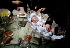 A first born son receives ancient Jewish ritual (if not born to a Cohen or a Levy).