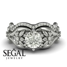 Bridal Set White Diamond rings by Segal Jewelry Unique Diamond Engagement Rings, Classic Engagement Rings, Beautiful Engagement Rings, Designer Engagement Rings, Diamond Rings, Halo Engagement, Beautiful Rings, Black Diamond, Bridesmaid Jewelry Sets