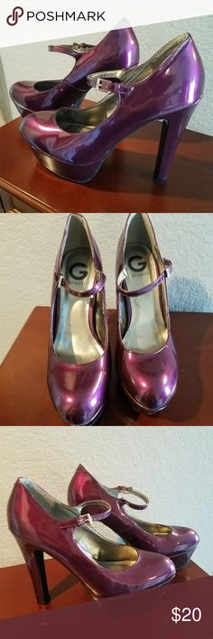 Sexy, sassy Guess purple patent heels!! Fantastic, show-stopping heels from Guess. Excellent condition, never worn outside. Comfy for heels!! Guess Shoes Heels