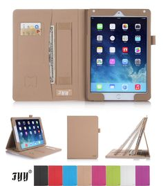 iPad Air 2 (iPad Case Cover, FYY® Premium Leather Case Smart Cover with Card Slots, Pocket, Elastic Hand Strap and Stylus Holder for Apple iPad Air 2 (iPad Khaki (With Auto Wake/Sleep Feature) Ipad Air 2 Cases, Ipad Case, Leather Case, Pu Leather, Smart Auto, Pencil Holder, 6 Case, Apple Ipad, Computer Accessories