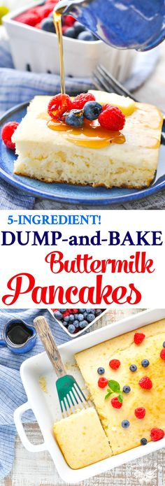 Dump-and-Bake Easy Buttermilk Pancakes These Dump-and-Bake Buttermilk Pancakes are the easiest way to serve brunch to your family! Breakfast Pancakes, Pancakes And Waffles, Breakfast Casserole, Pancake Muffins, Easy Brunch Recipes, Easy Desserts, Easy Recipes, Vegan Desserts, Free Recipes