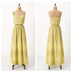 Anthro 'DIAMOND RAYS CHEMISE' Sunny hues and crisp angles emanate over Lilka's sheer, keyhole-snipped frock.   Adjustable straps  Pullover styling  Cotton  Machine wash  Bust is 17 inches, elastic waist is about 15 inches wide. Total length is 58 inches Anthropologie Dresses