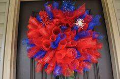 Fourth of July Wreath Spiral Wreath 4th of by RedWithEnvyDesigns