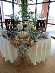 Table decorations for rehearsal dinner its just simple yet burlap rustic table decorations shabby chic wedding rentals i love the tie with the babys breath cute idea solutioingenieria Choice Image