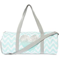 Mint and White Chevron with Glitter Heart Canvas Yoga Duffel Bag ($20) ❤ liked on Polyvore featuring bags, chevron bag, yoga duffel bag, white duffle bag, white bags и zip top bag