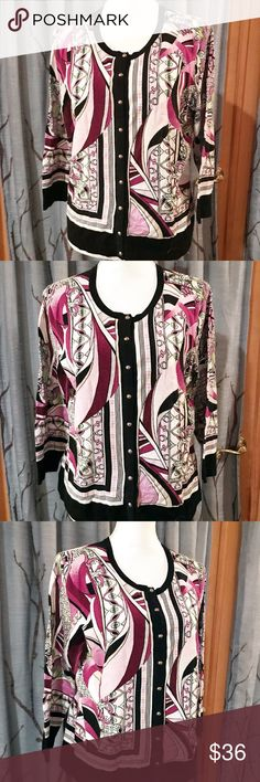 Nwot. WHBM XL button up cardi purple black white NWOT. White House Black Market size XL button up cardigan. White black and  purple patterned tones give a stained appearance to this cardi, with silver buttons White House Black Market Sweaters