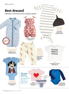 """Pregnancy & Newborn Spring Registry Guide features our exclusive Sun Smarties Long-Sleeve Nautical Swimsuit in their Best Dressed section.  """"Build babe's sartorial style with a winning wardrobe...Protect new skin in bathing suits with build-in Sun Protection."""""""