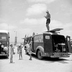 life:  Surfer Robert Gravage (AKA Hammerhead) stands on top of his van in San Onofre California in July 1950. (Loomis DeanThe LIFE Picture Collection/Getty Images) #howisummer