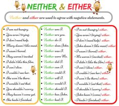 NEITHER and EITHER